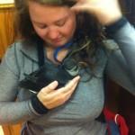 tillye holding a pet puffin